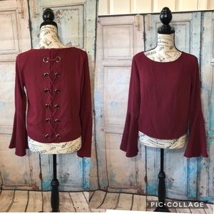 Design Lab Blouse Bell Sleeves Lace Up Back